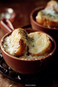 French onion soup, I saw the cutest little ramekin things at pier one for $1 I may have to go buy 4 and make this!