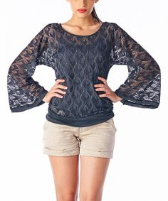 Black Sheer Lace Sweater