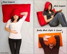 This puts the Snuggie to shame... The hoodie pillow! Too funny.