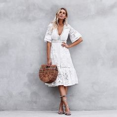 Winter white? Absolutely. Especially in the sunshine state • Lace midi dress by @spell_byronbay • Bamboo bag (2 left) • Sundress Cocoa Beach 11-6 Mon-Sat! #whitedress #whitelace #lacedress #spellbyronbay #ootd #winterwhite #boholuxe