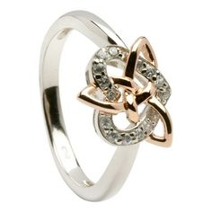 "All Celtic Jewellery - Irish Silver & Rose Gold Cubic Zirconia set ""Love Heart"" Celtic Love Knot Ring"