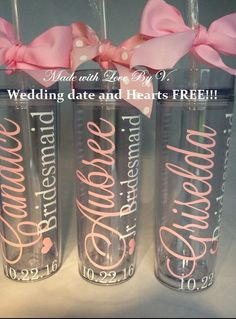 Personalized Tumbler with straw Bridesmaid by madewithlovebyV