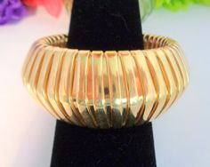 Vintage Givenchy Gold Plated Expansion Bracelet - The bracelet does not stretch it will fit a size 7 or 7.5 at the most. by CCCsVintageJewelry on Etsy