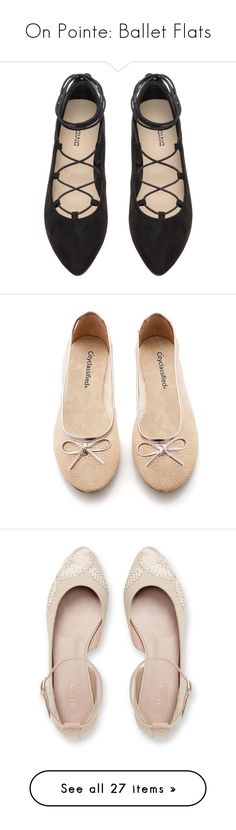 """On Pointe: Ballet Flats"" by polyvore-editorial ❤ liked on Polyvore featuring balletflats, shoes, flats, black ballet shoes, lace up flats, pointy toe ballet flats, ballet pumps, ballet shoes, ballet flats and glitter flat shoes"
