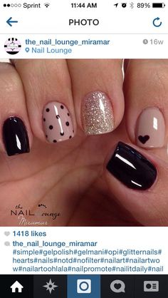 Nails gel, we adopt or not? - My Nails Heart Nail Art, Heart Nails, Nude Nails, Black Nails, Gel Nail Art, Acrylic Nails, Nail Polish, Nail Nail, Manicure E Pedicure