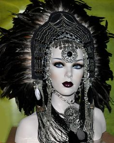 MADE TO ORDER Sci-Fi Fantasy Headdress Headpiece wig goth vampire lolita cosplay costume steampunk burning man. $389.00, via Etsy.