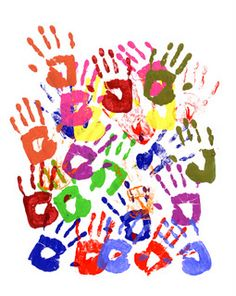 This gave me the idea - press your kid's hand into the paint, and then use a heart-shaped piece of paper to cover the middle of their hand, so that their hand print has a heart inside of it.