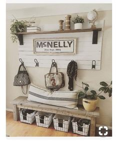 Entryway decor. Rustic or farmhouse look. Great if you have kids. #ad