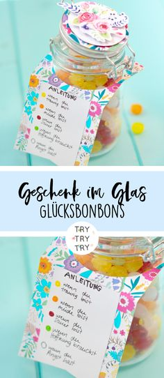 Gift in a glass // DIY gift // lucky candy // happiness in a glass // self .- Gift in a glass // DIY gift // lucky candy // happiness in a glass // homemade // // gift idea // // gift Diy Gifts For Kids, Easy Gifts, Homemade Gifts, Upcycled Crafts, Diy Crafts, Birthday Money Gifts, 30th Anniversary Gifts, Diy Cadeau, Diy Gift Box