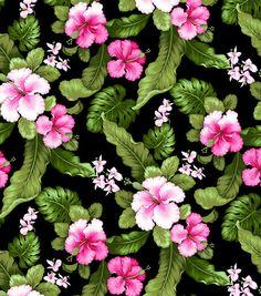 Tropical Shirting Fabric Hibiscus Fuchsia