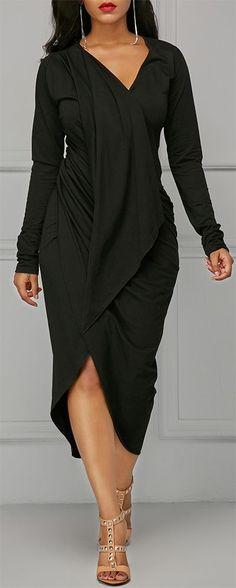 Black Asymmetric Hem V Neck Draped Dress. #beautyfashion