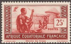 French Equatorial Africa  1937-40 25c copper red & blue Type II: narrow numerals (25c)