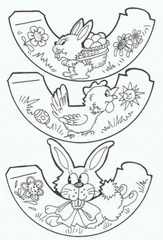 color, cut out, paste tabs to create Easter egg holders Easter Art, Easter Crafts For Kids, Easter Bunny, Easter Eggs, Easter Coloring Pages, Colouring Pages, Coloring Books, Easter Printables, Printable Crafts