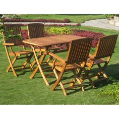 International Caravan RE-53-FA-40-4CH Royal Tahiti Almeria 5-Piece Patio Set in Stain
