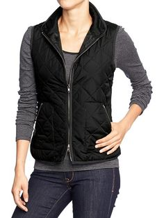 "Women's Quilted Barn Vests | Old Navy (Not as ""puffy"" as the normal puffers.)"