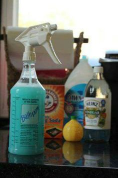 All-In-One Magic Bathroom Cleaner 1 Professional Spray Bottle 8 oz Distilled White Vinegar 4 oz Lemon Juice 2 oz Liquid Dawn 10 oz Water 2 tsp Baking Soda Mix ingredients in a bowl before putting into spray bottle. Homemade Cleaning Products, Cleaning Recipes, Natural Cleaning Products, Cleaning Hacks, Cleaning Supplies, Diy Hacks, Cleaning Mold, Cleaning Spray, Cooking Recipes