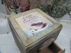 """2.Купить Короб для кофе """"Кофе в Париже"""" - коричневый, короб, шкатулка, мини-комод, короб для хранения"""