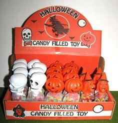 E. ROSEN Halloween plastic SKULL WITCH PUMPKIN CANDY HOLDER STORE DISPLAY BOX   #1761843287