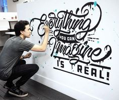 Type Gang — Awesome mural painted by – use. Inspiration Logo Design, Typography Inspiration, Mural Painting, Mural Art, Brush Lettering, Lettering Design, Wall Art Designs, Wall Design, Hand Lettering Tutorial