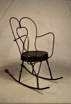 """Doll Rocking Chair Rustic Hand Crafted Metal Large 16"""""""