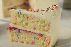 This celebration cake folds candy sprinkles into a fluffy white butter cake and then covers it with a tangy sweet cream cheese frosting. With Demo Video Cake Cookies, Cupcake Cakes, Cupcakes, Tooth Cake, Candy Sprinkles, Frosting Tips, White Cakes, Funfetti Cake, Occasion Cakes