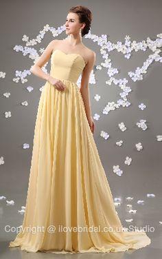 Refined Strapless Sweetheart Chiffon Court Train Daffodil Bridesmaid Dress