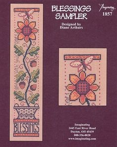 Blessings Sampler - (Cross Stitch) Find your next floral design at Cobweb Corner. Save 20% off your first order with coupon WELCOMECC  #crossstitch #flowers #cobwebcorner