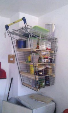 Even though possessing a shopping cart without a receipt of sale is illegal, redneck logic tells them to use it to build shelves for the garage. Don't worry, the wheels did not go to waste! Redneck Humor, Redneck Gifts, Diy Regal, Garage Storage, Garage Organisation, Pantry Storage, Storage Organization, Interior Design Kitchen, Lifehacks