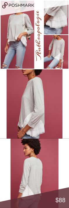 "Anthropologie tulle trim Sweater Adorable heather grey sweater by Lili features a crew neck, long sleeves, tulle trim on both sides. Cotton- polyester. Approx measurements: 23"" length, bust:32"", hips:35"" Anthropologie Sweaters Crew & Scoop Necks"