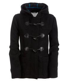 Aeropostale Junior Womens Black Hooded Toggle Wool Peacoat Coat Jacket XL   eBay