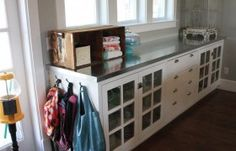 Super cool galvanized tin countertops....would be so cool in a mud/laundry room!   Love the length of this