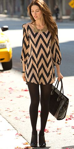 chevron dress + black tights y&iclothingboutique | shopyandi.com