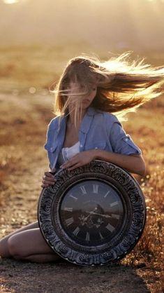 Sunset Beauty Flying Blonde Vintage Clock Wild Field #iPhone #5s #wallpaper
