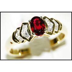 http://rubies.work/0402-sapphire-ring/ Ruby Diamond Wedding Solitaire Ring 18K Yellow Gold by BKGjewels