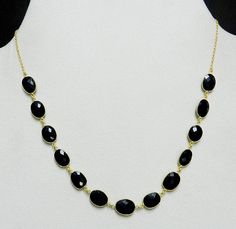 925 Sterling Silver 18k Gold Plated Black Onyx Gemstone Vintage Chain Necklace #Handmade #Chain