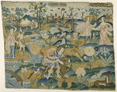 """Embroidered picture: : """"Man with a Lion in a Landscape with two Couples"""", 2nd half of the 17th century"""