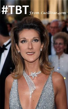 #TBT Celine Dion Shoots For The Stars.  At the 1997 Oscars, Celine Dion wore head-to-toe Chanel.  Chanel gave her the gigantic diamond star stud earrings. The diamond necklace that she wore was later sold for US $490,000.