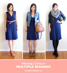 How to Wear a Dress in Multiple Seasons  Swap Summer/Spring Accessories for Fall Pieces  Layers, Layers, Layers First, the tights are fleece-lined tights which are way warmer than normal tights!  Second, I layered a shirt underneath for more warmth. Then there's the leather jacket, and a big knit scarf to top it off!    Top It Off With a Sweater
