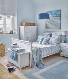 Coastal Bedroom Design and Decoration Ideas - For Creative Juice Seaside Bedroom, Beach House Bedroom, Nautical Bedroom, Coastal Bedrooms, Coastal Living Rooms, Beach House Decor, Bedroom Decor, Home Decor, Beach Houses