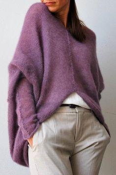 Mohair Cardigan, Purple Cardigan, Oversized Cardigan, Knitted Poncho, Mode Crochet, Knit Crochet, Knit Fashion, Look Fashion, Wedding Sweater