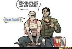 my favourite fallout nv stat is a burn victim wrapped in gauze being the single most damage resistant being in existence Fallout Tips, Fallout Fan Art, Fallout Game, Fallout New Vegas, Fallout Quotes, Fallout Comics, Fallout Funny, Joshua Graham, Fanart