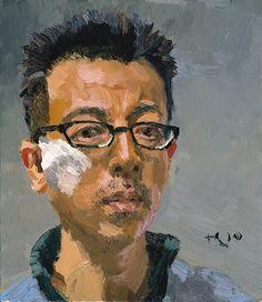 Liu Xiaodong, Self Portrait, 2010, Oil on Canvas, 38 x 33 cm