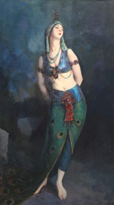 Ruth St. Denis in the Peacock Dance (1919). Robert Henri (American, 1865-1929).Oil on canvas. Pennsylvania Academy of Fine Arts. St. Denis's choreography was frequently inspired by non-Western sources, and she based this role on an Indian legend of a woman who is turned into a peacock because of her extreme vanity. Henri painted St. Denis in her exotic costume of shimmering violet and green, her sinuous pose reflective of the dance's graceful movement.