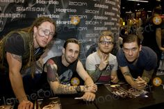 Brent Smith, Shinedown, Barry Kerch, Zach Myers Photo - Jan. 27, 2013 - Anaheim, CA, USA - Jan 26, 2013 - Anaheim, CA, USA - Rock Group SHINEDOWN appears at the 2013 NAMM Show.  Pictured are L-R: BARRY KERCH, ZACH MYERS, ERIC BASS, and BRENT SMITH. (Credit Image:  Daniel Knighton/ZUMAPRESS.com)