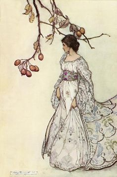 """You should really do yourself a favour and whack """"Arthur Rackham"""" into Google Images and drool over all his fantastical art. I have his illustrated """"Rip Van Winkle"""" book but this divine missus walking beneath autumn rosehips in a dress I would rather like to own is entitled """"Feeling Very Undancey"""". Can you believe it? Loves it."""