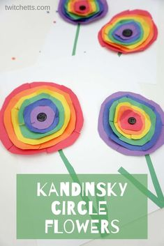 How To Inspire Kandinsky, Rainbow Circle Floral Art With Kids - Projectgardendiy.club - How to Inspire Kandinsky, Rainbow Circle Floral Art with Kids - Art Projects For Adults, Toddler Art Projects, Diy Projects, Easy Kids Art Projects, Summer Art Projects, Kindergarten Art Projects, Toddler Crafts, Kid Crafts, Yarn Crafts