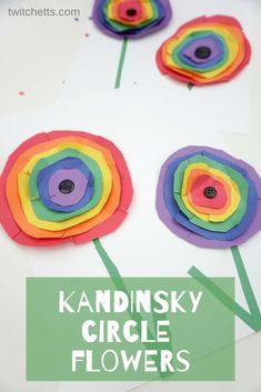 How to make Kandinsky inspired rainbow circle flower art with kids #Twitchetts