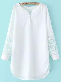 V Neck Crochet Chiffon White Dress  -SheIn