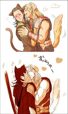 Thor and Loki (Aw! I post the cute stuff. I laugh until I wheeze over the other stuff, but I try and keep it cute. Keep in mind the actual Loki is said to have mated with rocks and trees so, yeah, takes a lot to rattle Him and Thor just laughs.)