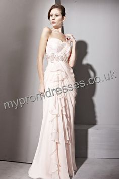 Floor Length Round-neck Pink Chiffon A-line Evening Dress  http://www.mypromdresses.co.uk